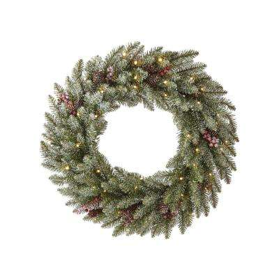 Snowy Dunhill Fir 24 in. Artificial Christmas Wreath