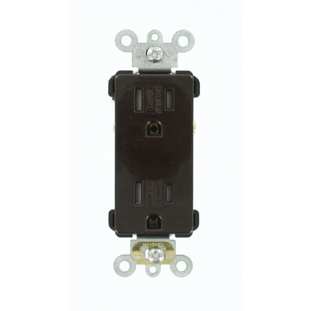 Leviton Decora Plus 15 Amp Tamper Resistant Self Grounding Duplex Outlet, Brown