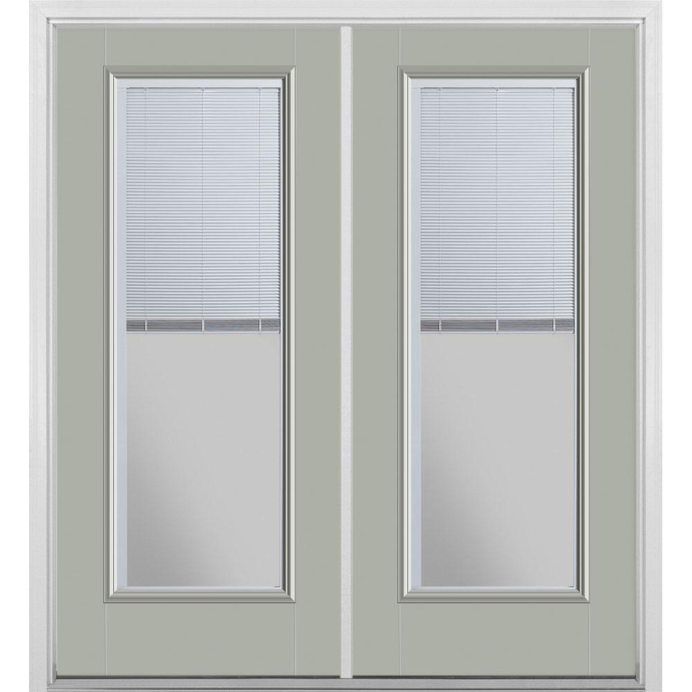 Masonite 72 in. x 80 in. Silver Cloud Fiberglass Prehung Left Hand Inswing Mini Blind Patio Door with Brickmold, Vinyl Frame