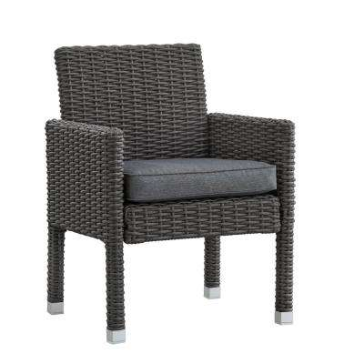 Camari Charcoal Arm Wicker Outdoor Dining Chair with Gray Cushion (Set of 2)