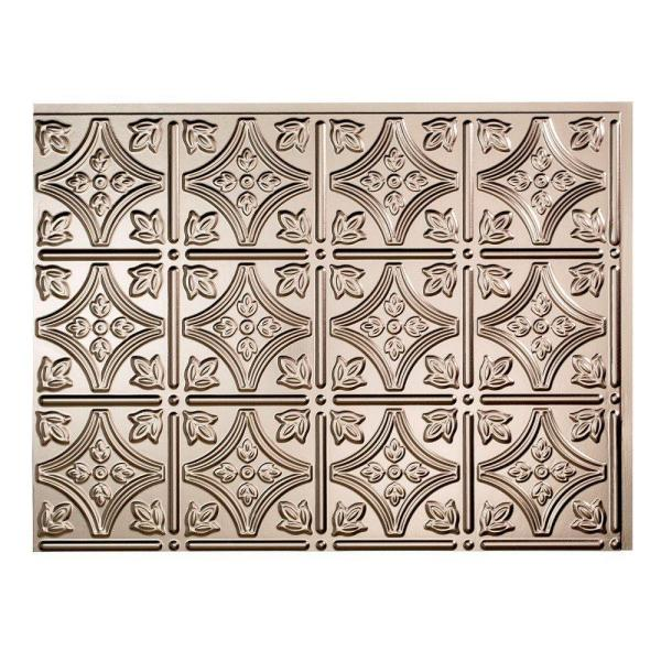 18.25 in. x 24.25 in. Brushed Nickel Traditional Style # 1 PVC Decorative Backsplash Panel