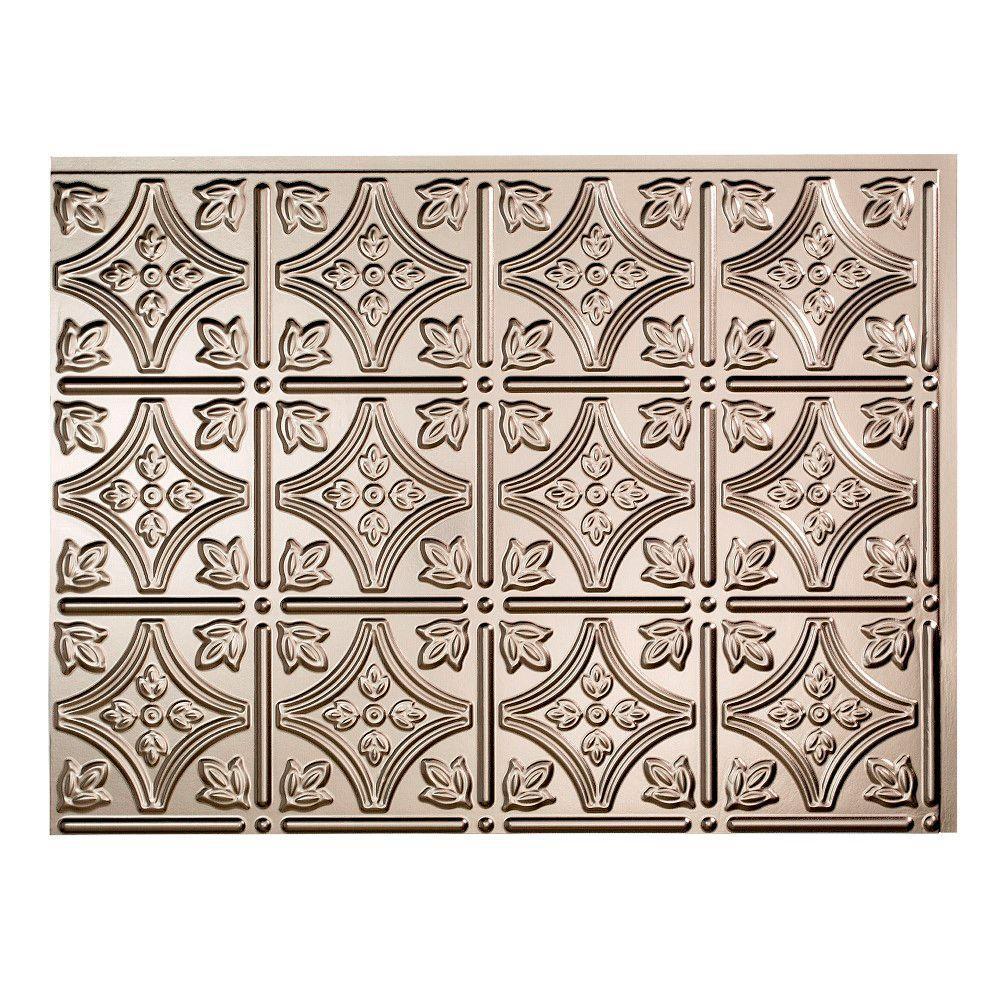 18 in. x 24 in. Traditional #1 Brushed Nickel ( Vinyl Backsplash Panel Pack of 5)