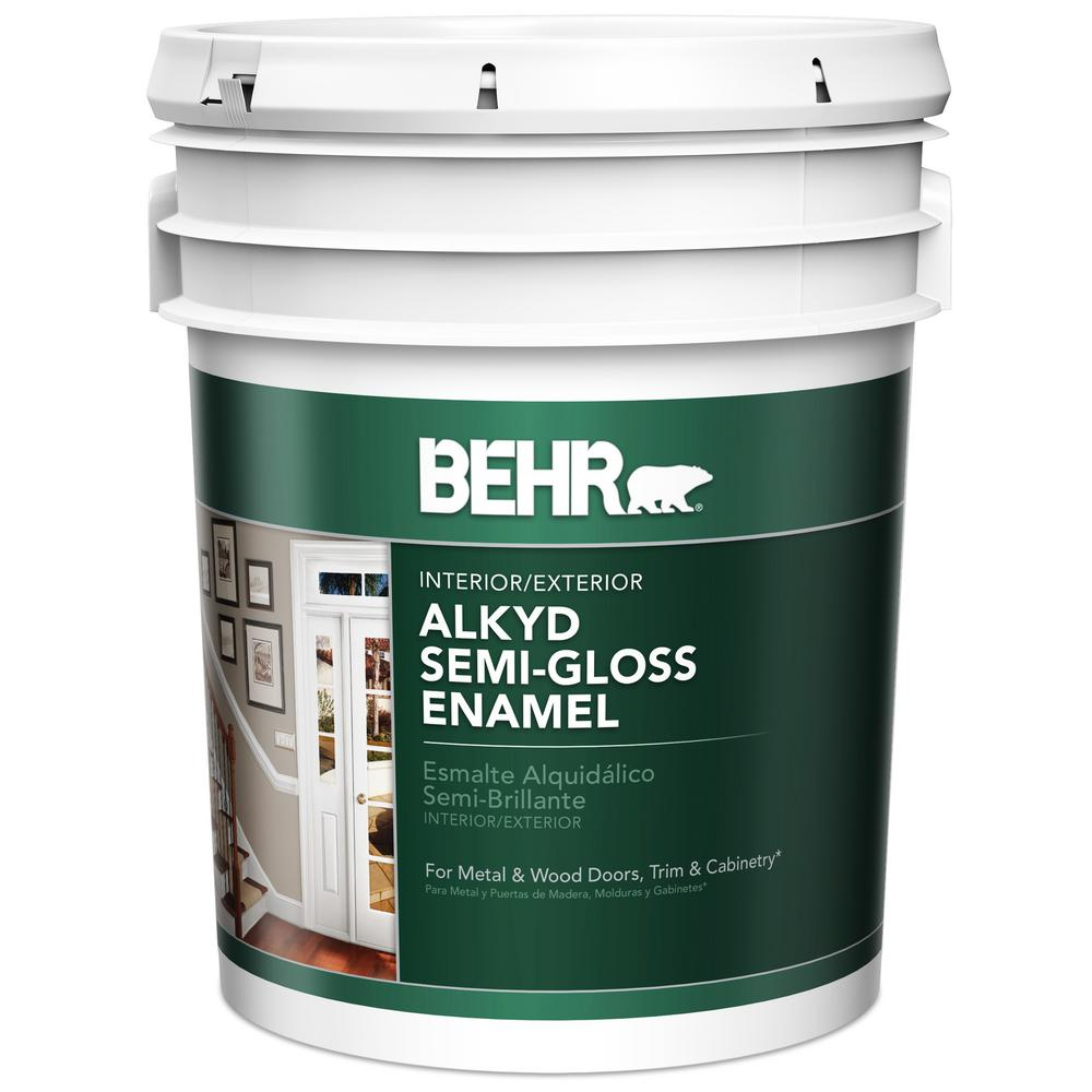 Behr Premium Plus Ultra 5 Gal Ultra Pure White Semi Gloss Enamel 585005 The Home Depot
