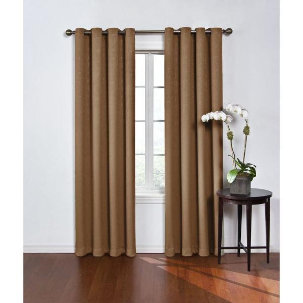Round and Round Blackout Window Curtain Panel in Latte - 52 in. W x 63 in. L