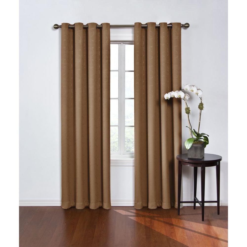 Eclipse Round and Round Blackout Window Curtain Panel in Latte - 52 in. W x 95 in. L