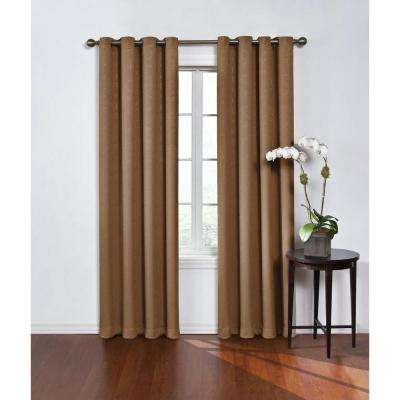 Blackout Round and Round Latte Polyester Grommet Blackout Curtain - 52 in. W x 84 in. L