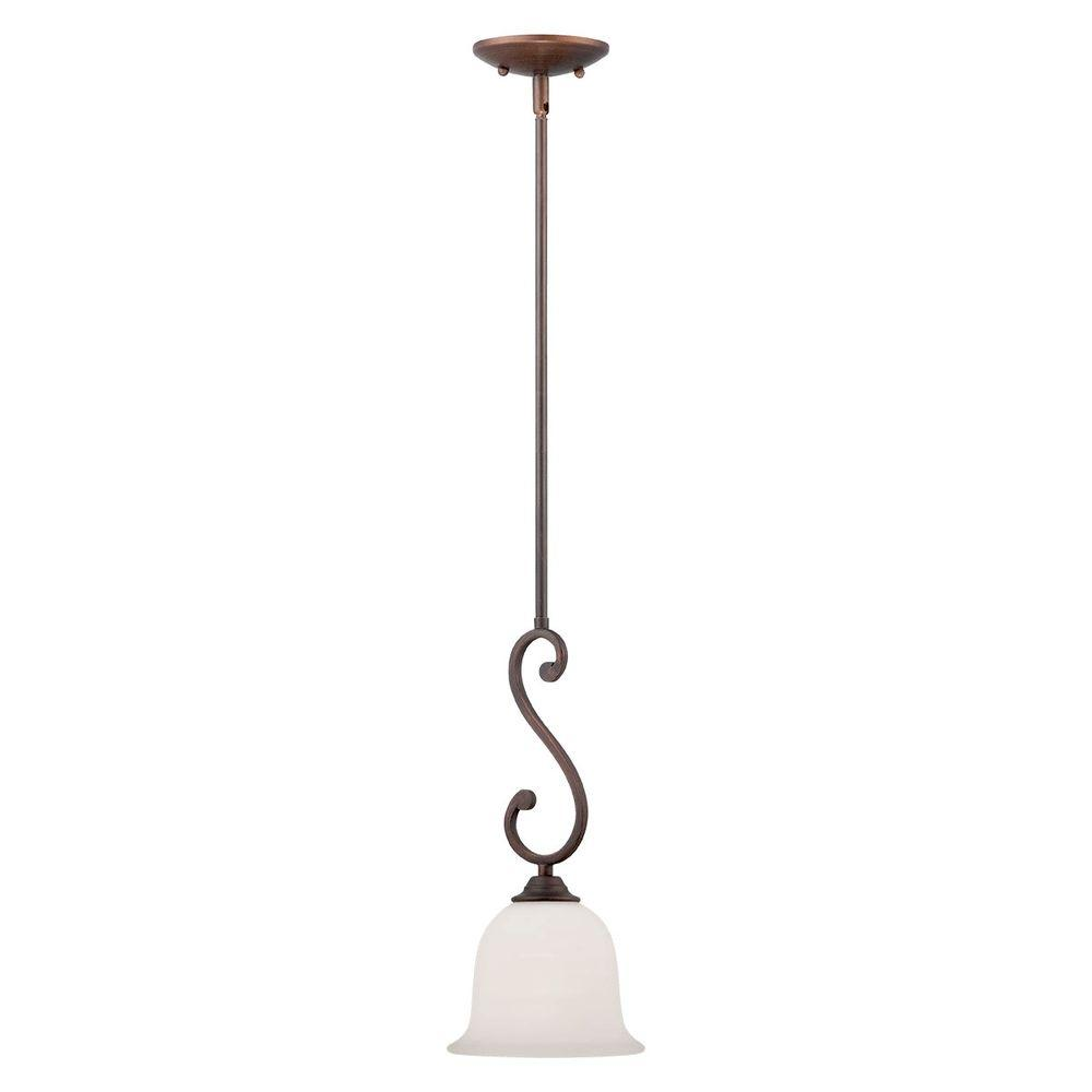 Rubbed Bronze Mini Pendant with Etched White Glass