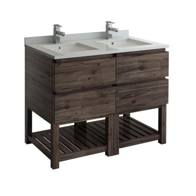 Formosa 48 in. Modern Double Vanity with Open Bottom in Warm Gray, Quartz Stone Vanity Top in White with White Basins