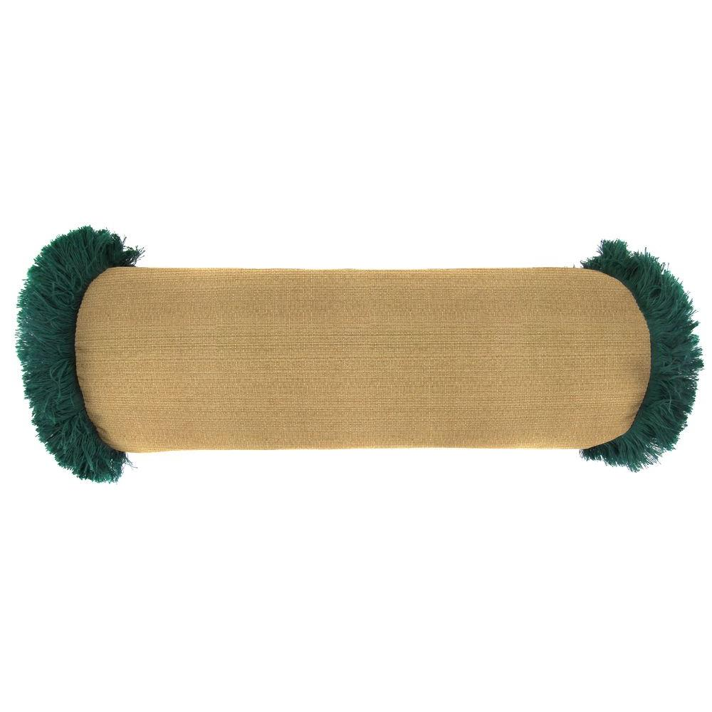 Jordan Manufacturing Sunbrella 7 in. x 20 in. Canvas Teak Bolster Outdoor Pillow with Forest Green Fringe