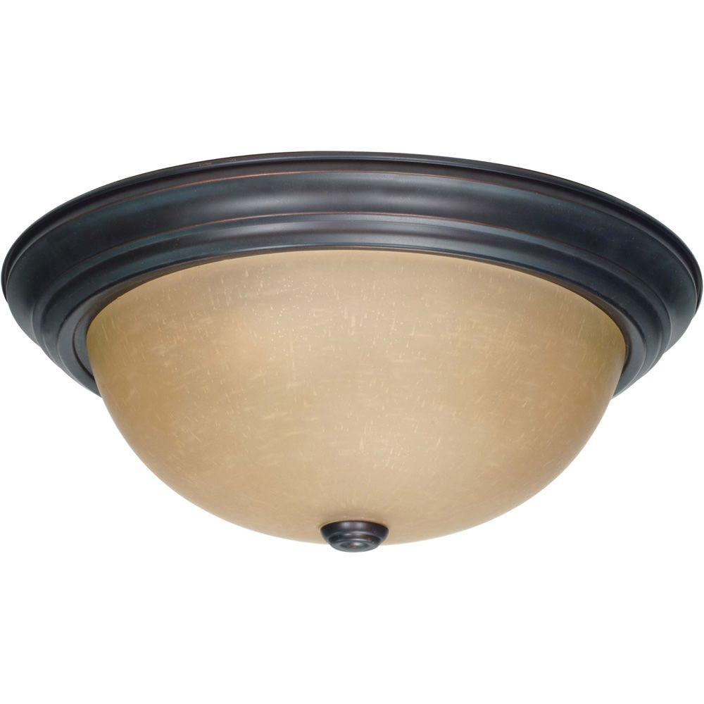 3-Light Mahogany Bronze Flushmount with Champagne Linen Washed Glass Shade
