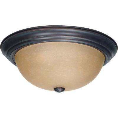 3-Light Mahogany Bronze Flush Mount with Champagne Linen Washed Glass Shade