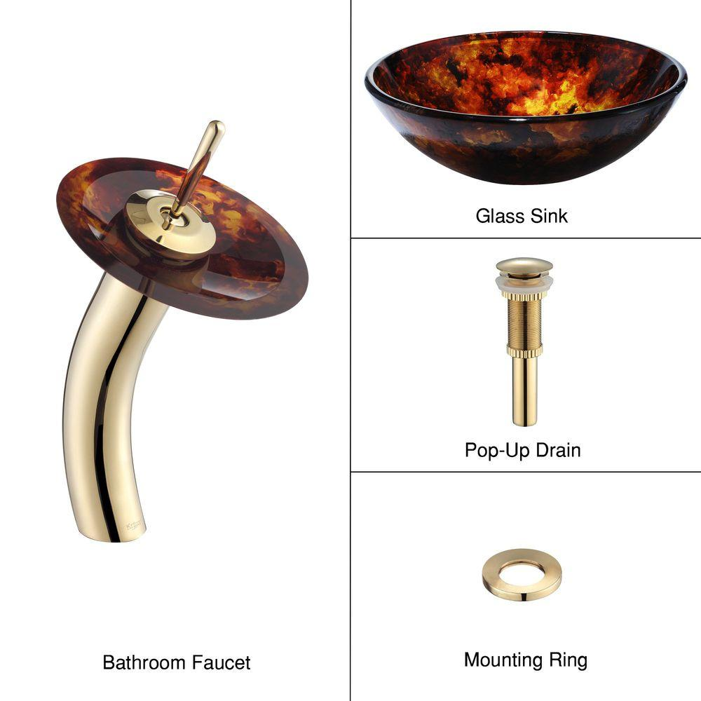 KRAUS Glass Bathroom Sink in Fire Opal with Single Hole Single-Handle Low-Arc Waterfall Faucet in Gold-DISCONTINUED