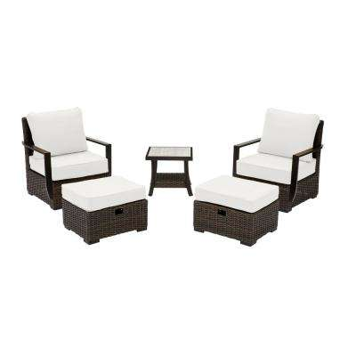 Whitfield Dark Brown 5-Piece Wicker Outdoor Patio Bistro Set with CushionGuard Chalk White Cushions (2-Pack)