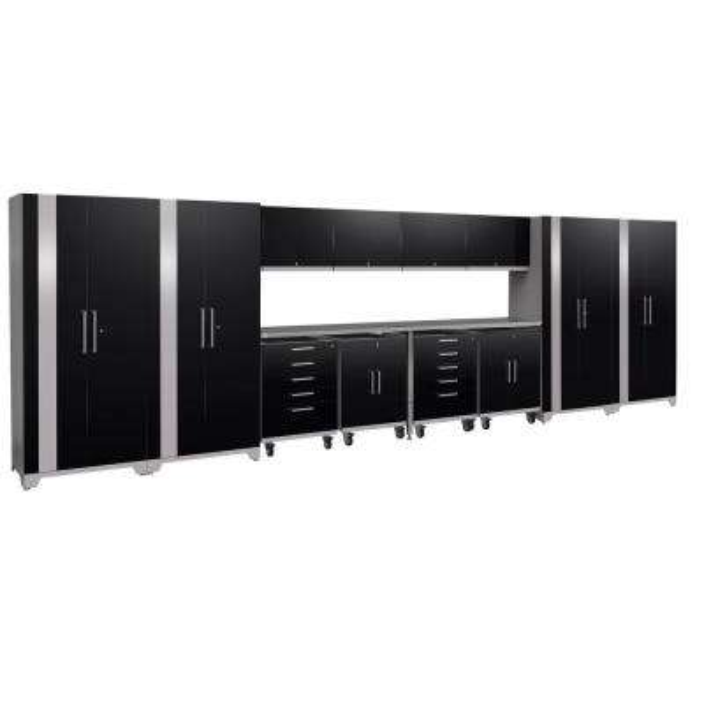 Performance Plus 2.0 80 in. H x 266 in. W x 24 in. D Steel Garage Cabinet Set in Black (14-Piece)