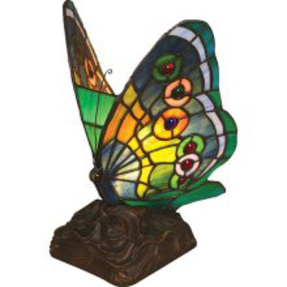 Chloe Lighting Tiffany-Style Butterfly 6 in. Resin Night Light Table Lamp