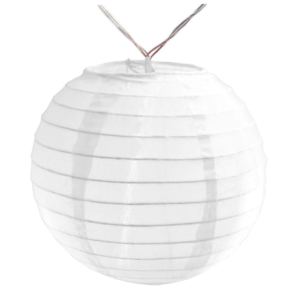 Battery Operated String Light with 6 in. Nylon Lanterns in White