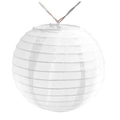 Battery Operated String Light with 6 in. Nylon Lanterns in White (10-Count)