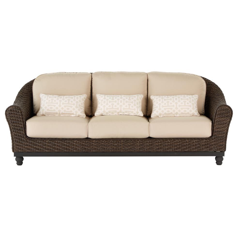 Home Decorators Collection Camden Dark Brown Wicker Outdoor Sofa with  Sunbrella Antique Beige Flax Cushions