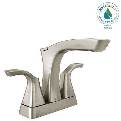 Tesla 4 in. Centerset 2-Handle Bathroom Faucet with Metal Drain Assembly in Stainless
