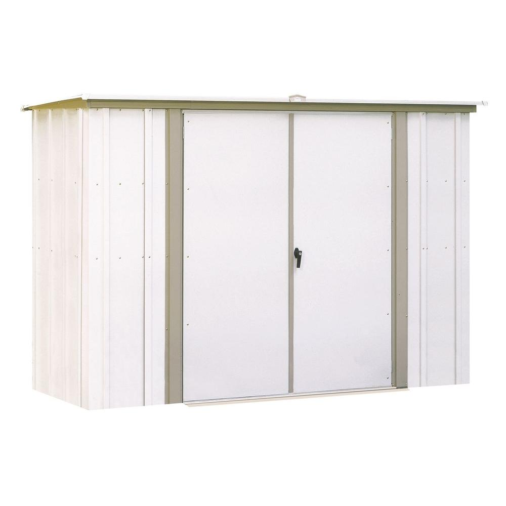 Arrow 8 ft. W x 3 ft. D White Galvanized Metal Garden Shed