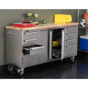 Trinity 6 ft. Stainless-Steel Corner Rolling Work Bench with Storage by Trinity