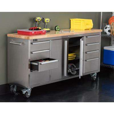 6 ft. Stainless-Steel Corner Rolling Workbench with Storage