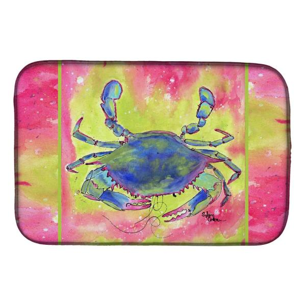 Caroline S Treasures 14 In X 21 In Multi Color Crab Dish Drying Mat 8343ddm The Home Depot
