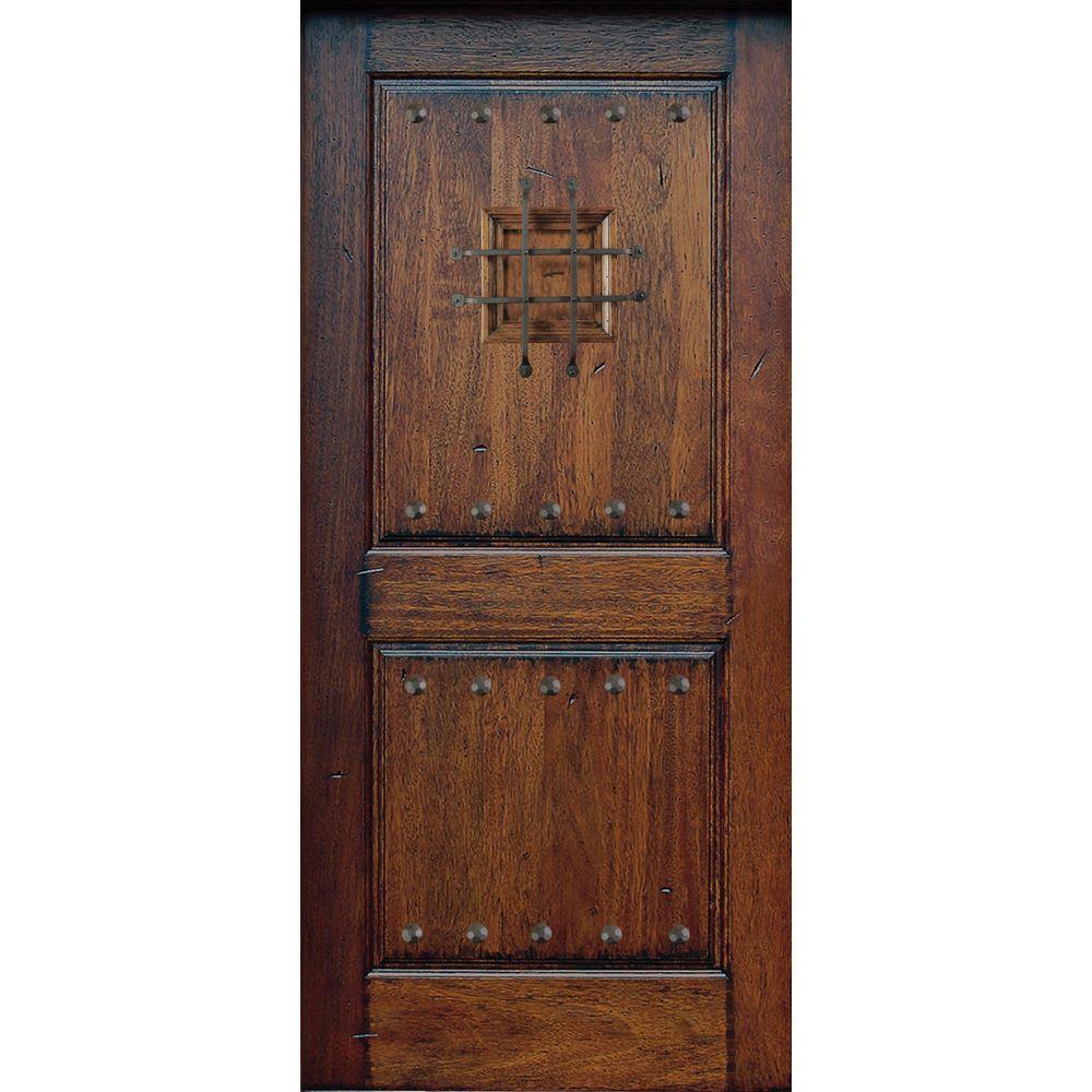 Main Door 36 in. x 80 in. Rustic Mahogany Type Prefinished Distressed Solid Speakeasy Stained Wood Front Door Slab
