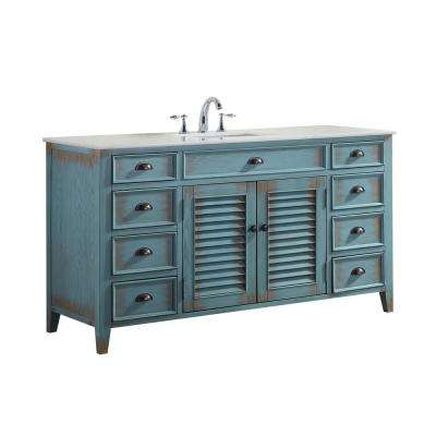 Palm Beach 60 in. W x 21.75 in. D Vanity in Distressed Blue with Marble Vanity Top in White with White Basin