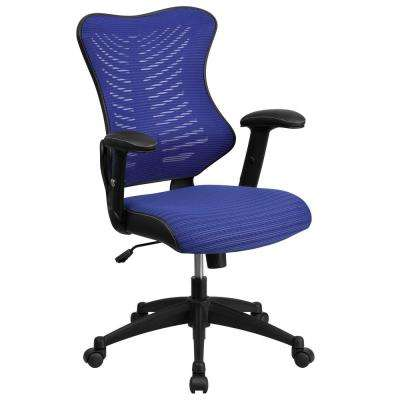 High Back Blue Designer Mesh Executive Swivel Office Chair With Padded Seat