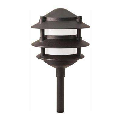 Low-Voltage Black Outdoor Integrated LED 3-Tier Metal Landscape Path Light with Frosted Plastic Lens