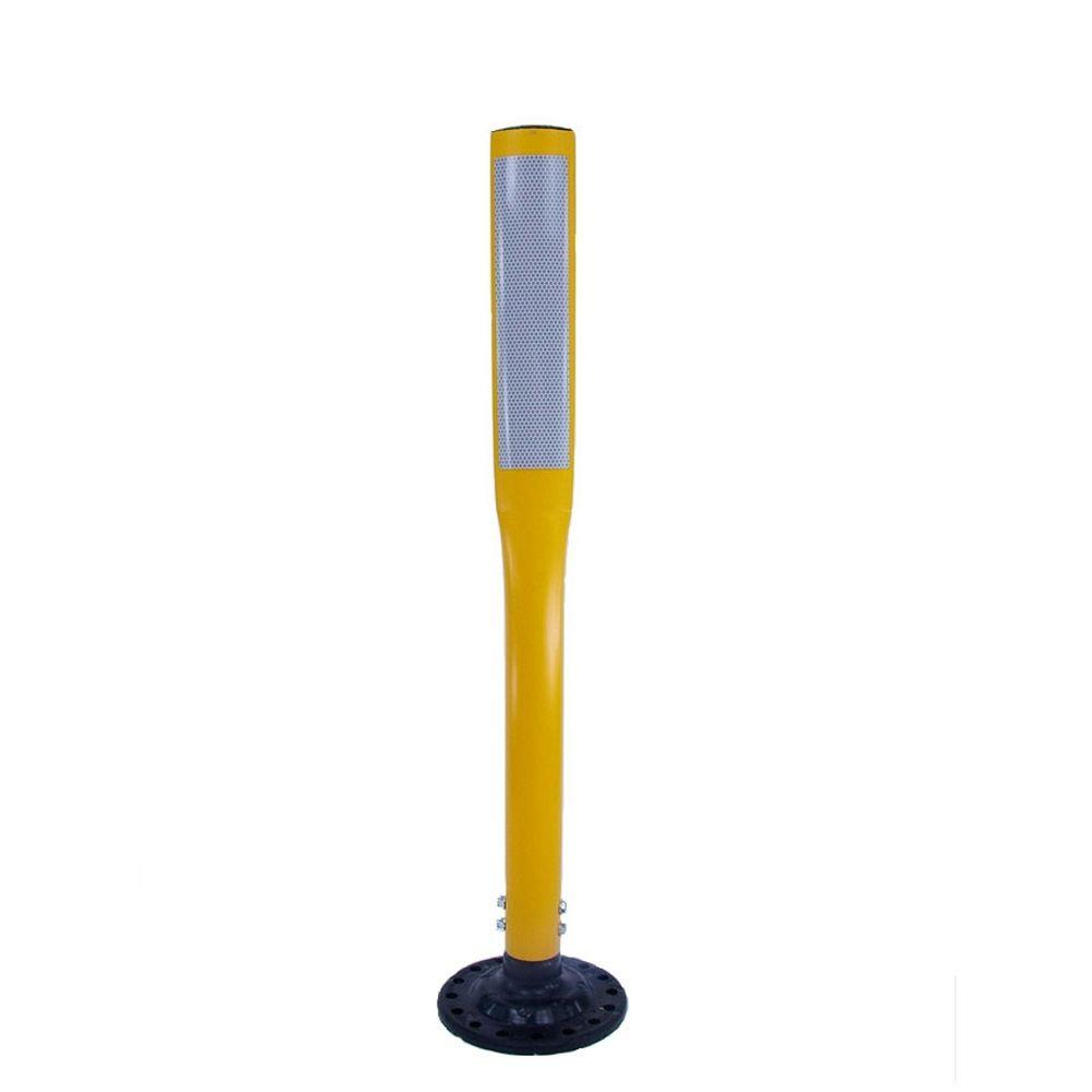 Three D Traffic Works 36 in. Yellow Flat Delineator Post and Base with 3 in. x 12 in. High-Intensity White Strip