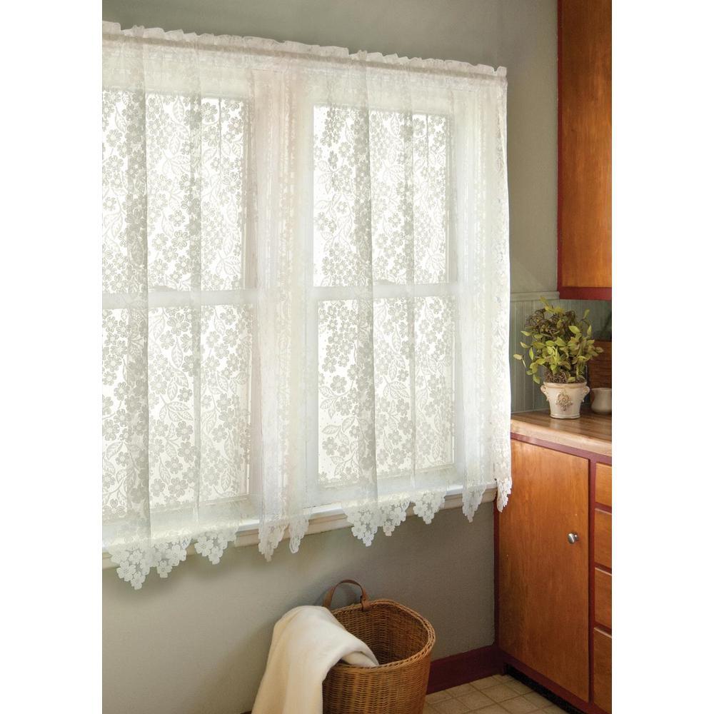 Dogwood Ecru Lace Curtain 55 in. W 63 in. L