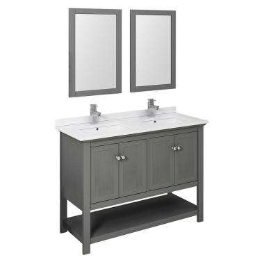 Manchester Regal 48 in. W Double Vanity in Gray Wood with Quartz Stone Vanity Top in White with White Basins, Mirrors