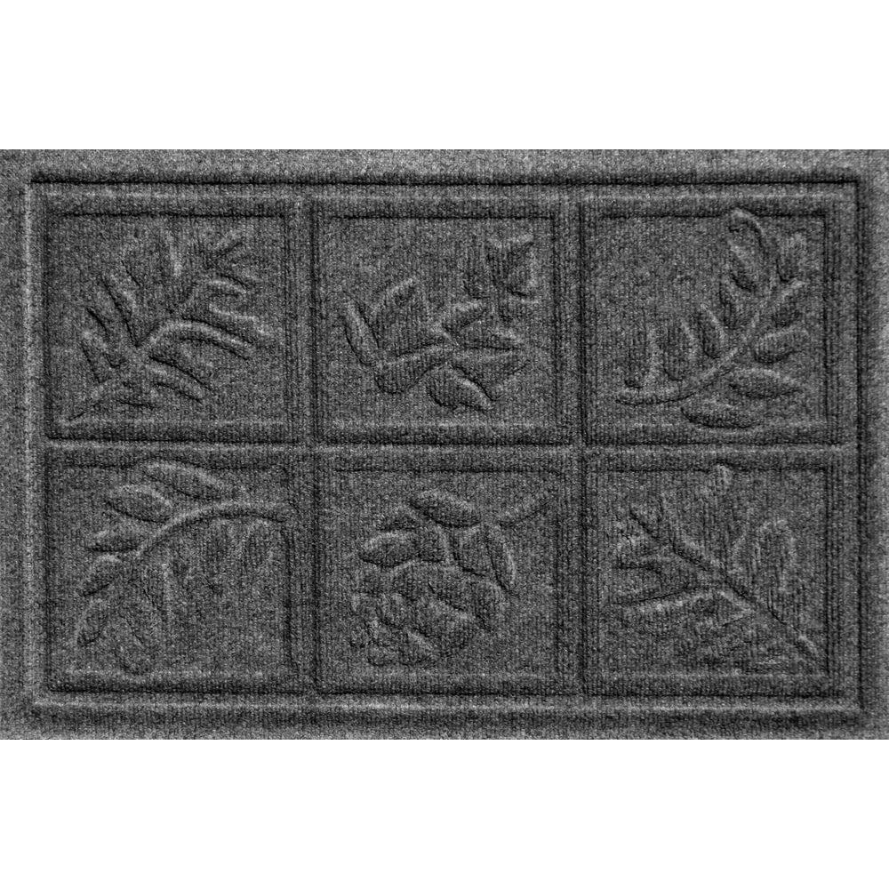 Bungalow Flooring Aqua Shield Nature Walk Charcoal 17.5 in. x 26.5 in. Door Mat