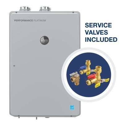 Performance Platinum 9.5 GPM Natural Gas High Efficiency Indoor Tankless Water Heater with Brass Service Valves Bundle