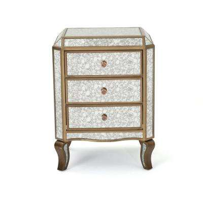 Nicos 3-Drawer Mirrored Chest with Gold Faux Wood Frame
