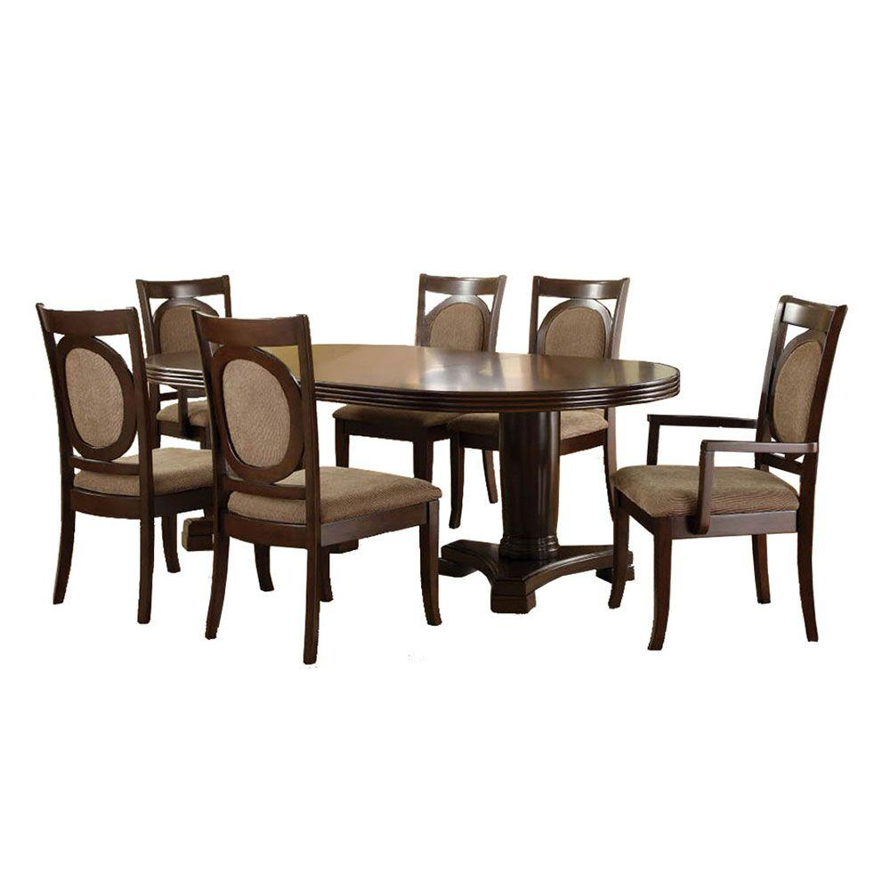 Kitchen Table And Chairs At Kmart: Venetian Worldwide Evelyn 7-Piece Walnut Dining Set-CM3418T-7PK