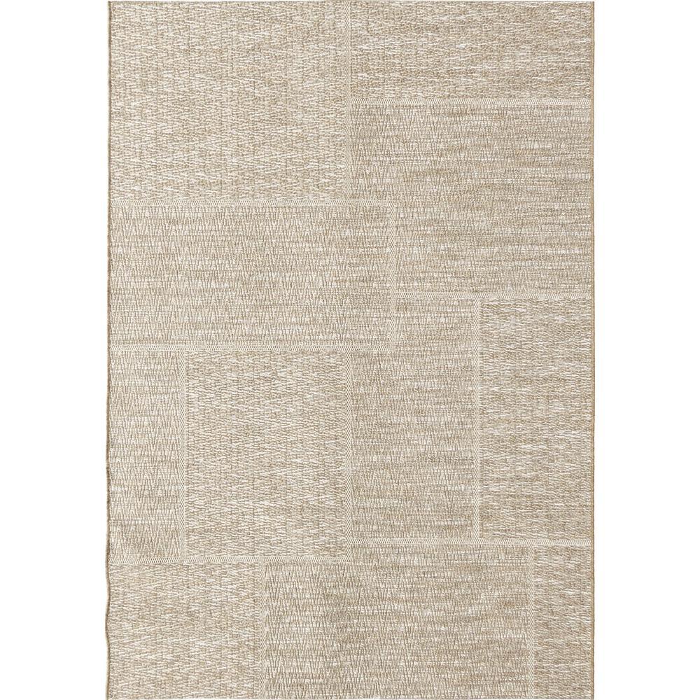 Squared Sand Casual Beige 5 ft. x 8 ft. Indoor/Outdoor Area Rug