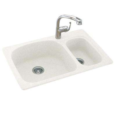 Drop-In/Undermount Composite 33 in. 1-Hole 70/30 Double Bowl Kitchen Sink in Tahiti White