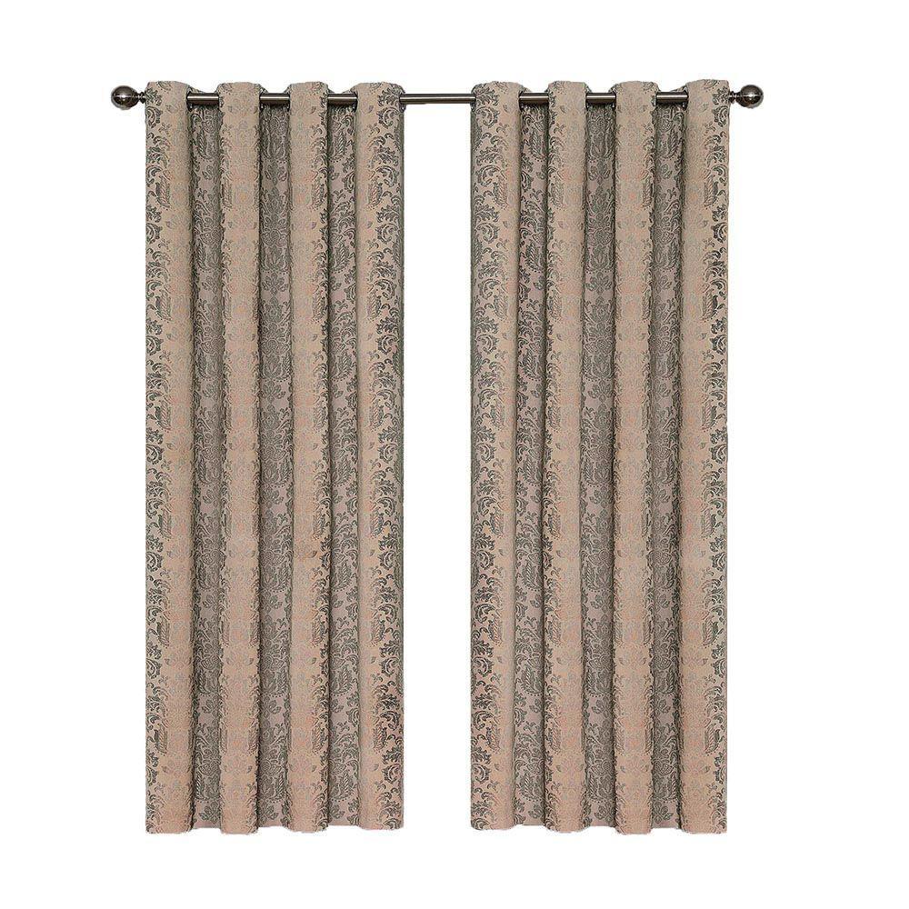 Eclipse Nadya Print Blackout Window Curtain Panel in Linen - 52 in. W x 84  in. L