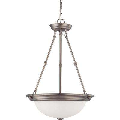 3-Light Brushed Nickel Pendant with Frosted White Glass