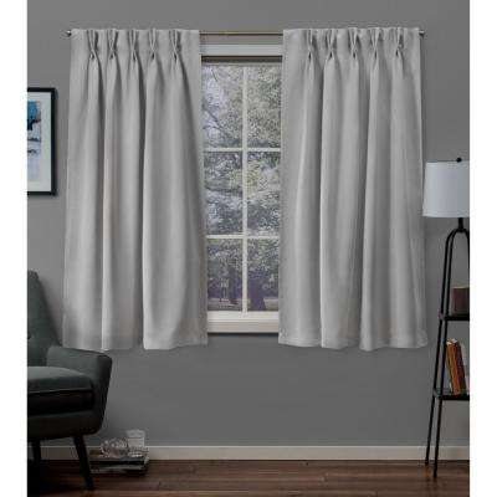 Sateen Silver Pinch Pleat Top Curtain Pair