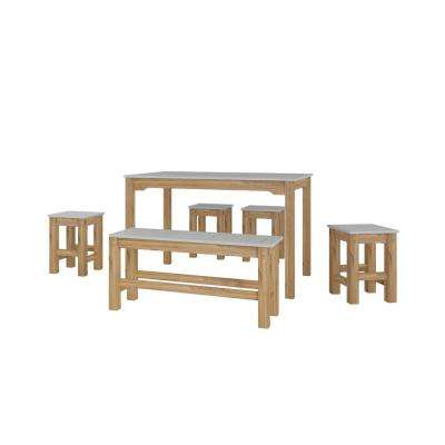 Stillwell 47.25 in. 6-Piece Gray and Natural Wood Rectangle Dining Set