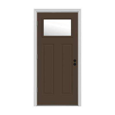 32 in. x 80 in. 1 Lite Craftsman Dark Chocolate Painted Steel Prehung Right-Hand Outswing Front Door w/Brickmould
