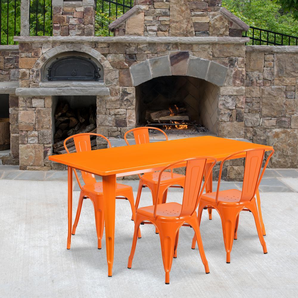 Orange 5-Piece Metal Rectangle Outdoor Bistro Set
