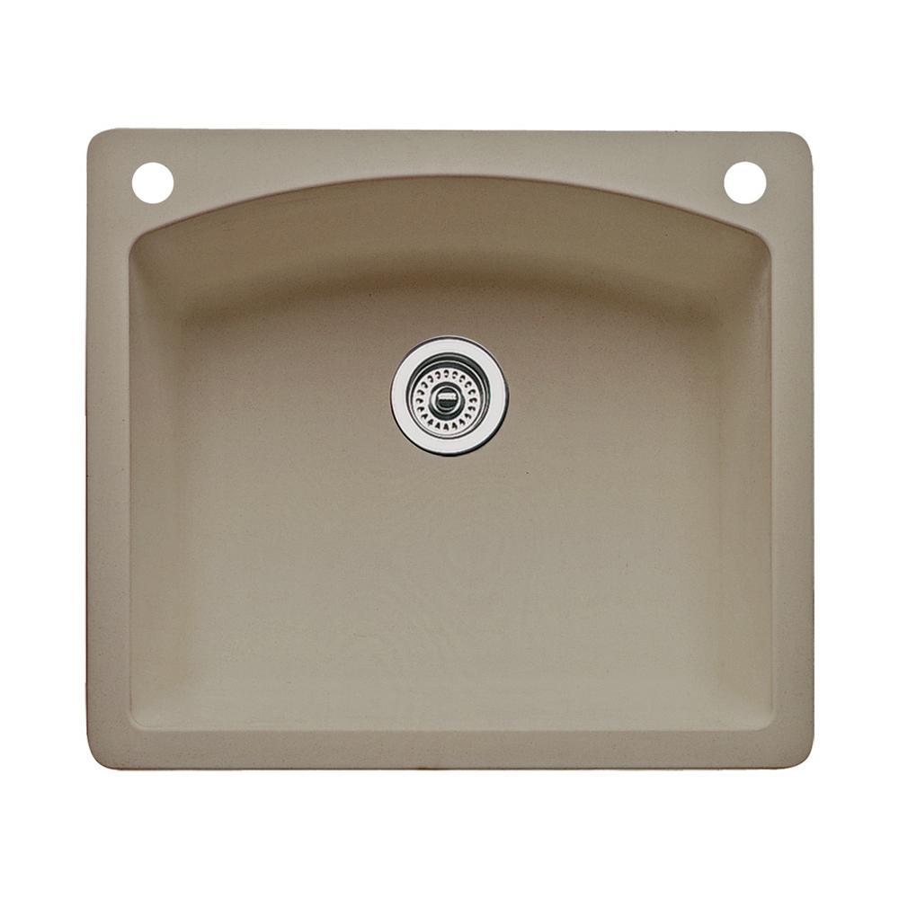 Diamond Dual-Mount Granite 25 in. 2-Hole Single Bowl Kitchen Sink in Truffle