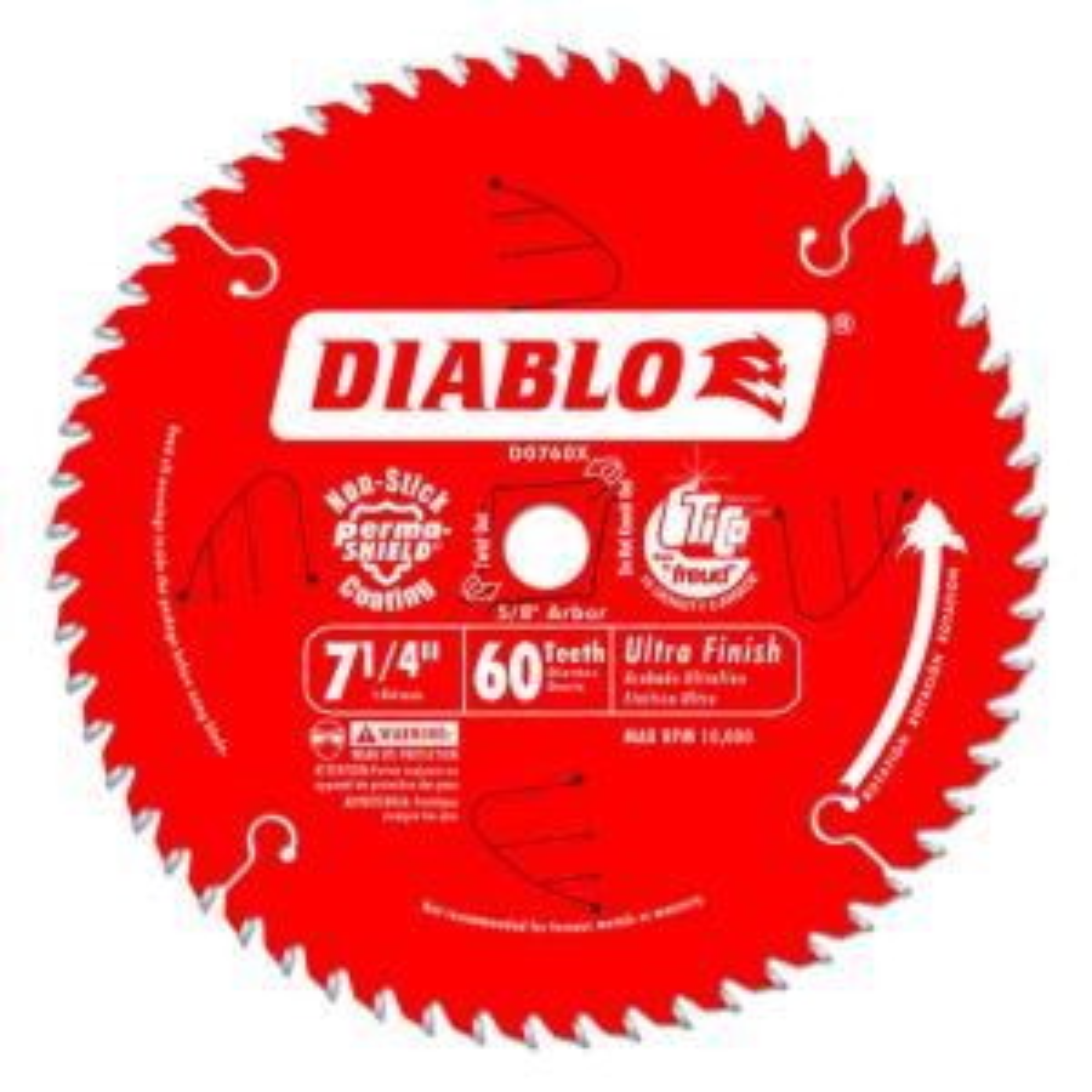 Diablo 7 1 4 In X 60 Tooth Fine Finish Saw Blade D0760r