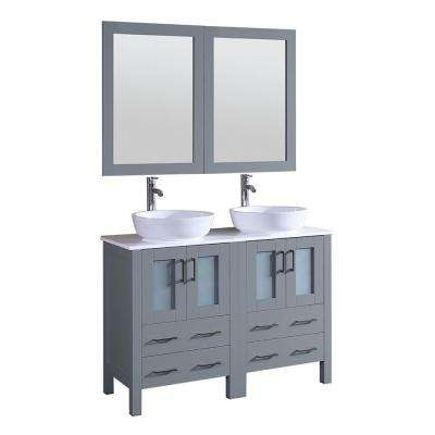 48 in. Double Vanity in Gray with Vanity Top in White in White with White Basin and Mirror