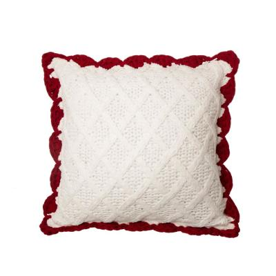 18 in. L x 18 in. W Knitted Polyester White Pillow Cover with Red Trim and Pompom